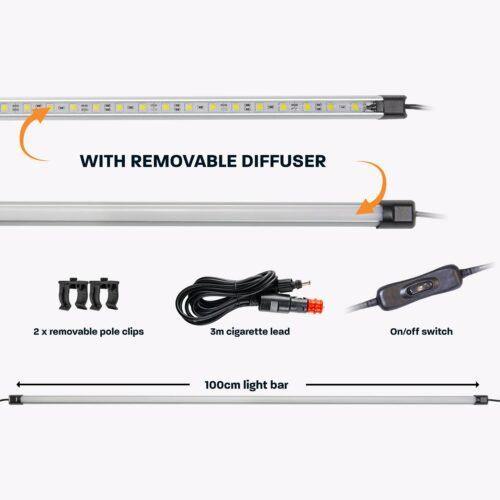 100cm White LED Camp Light Bar