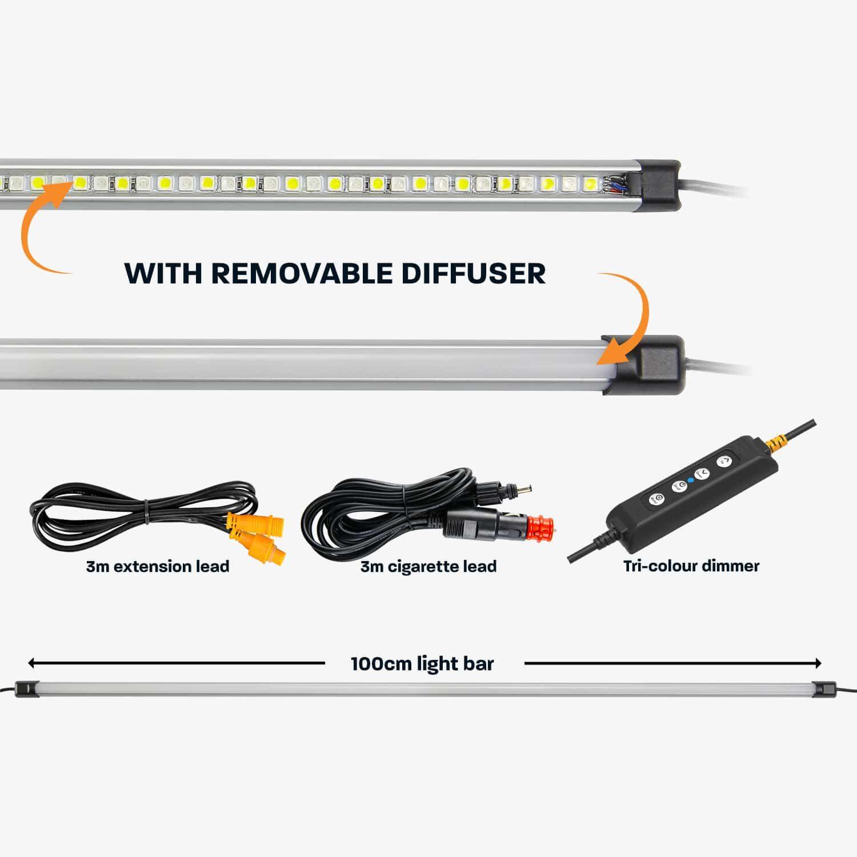100cm Tri-Colour LED Camp Light Bar