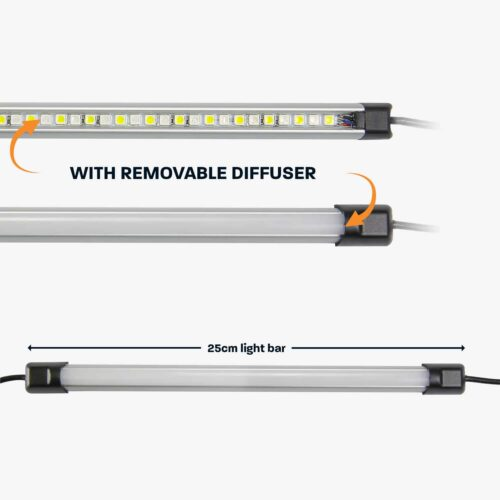 25cm Tri-Colour LED Camp Light Bar