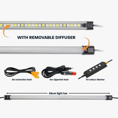 48cm Tri-Colour LED Camp Light Bar