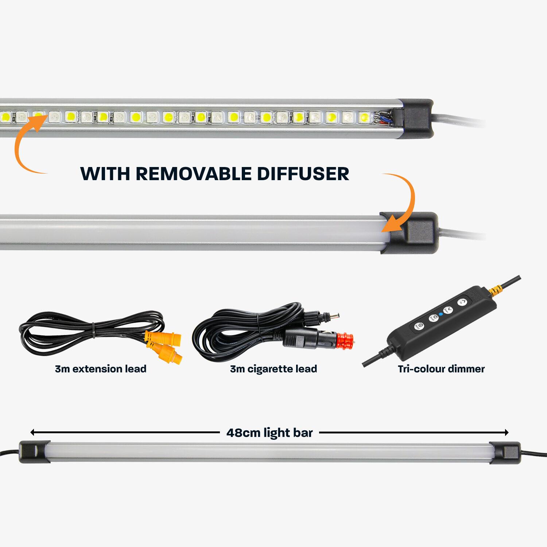 48cm Tri-Colour LED Light Bar Kit with Diffuser