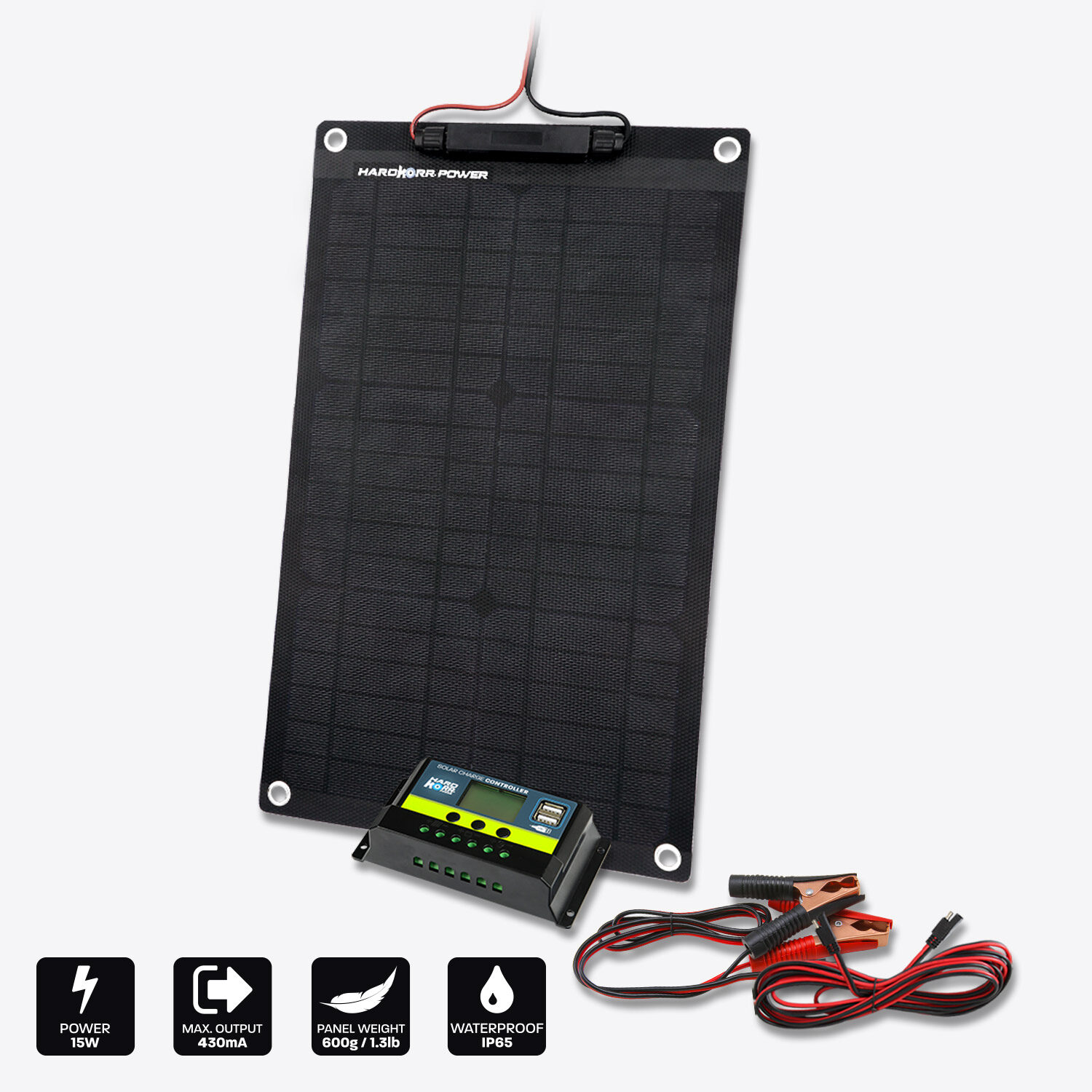 15w Trickle Charger Solar Panel with Crocskin (24v)